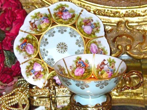 Courting Couples- Ornate CUP & SAUCER~BAVARIA GERMANY J.K.W