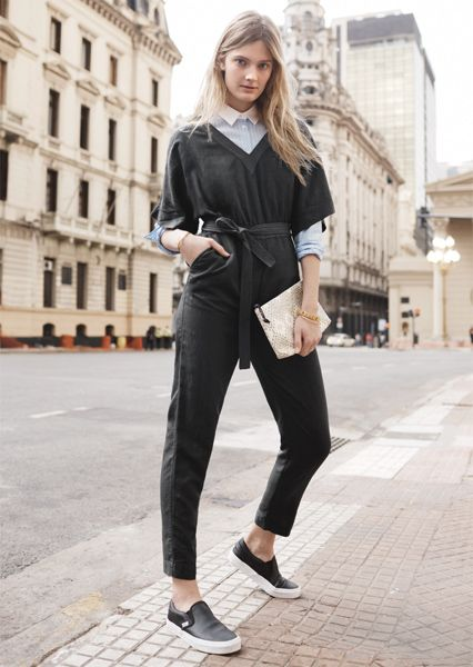 caa4c1c9adbe Layer a button-down shirt under a jumpsuit for an edgy