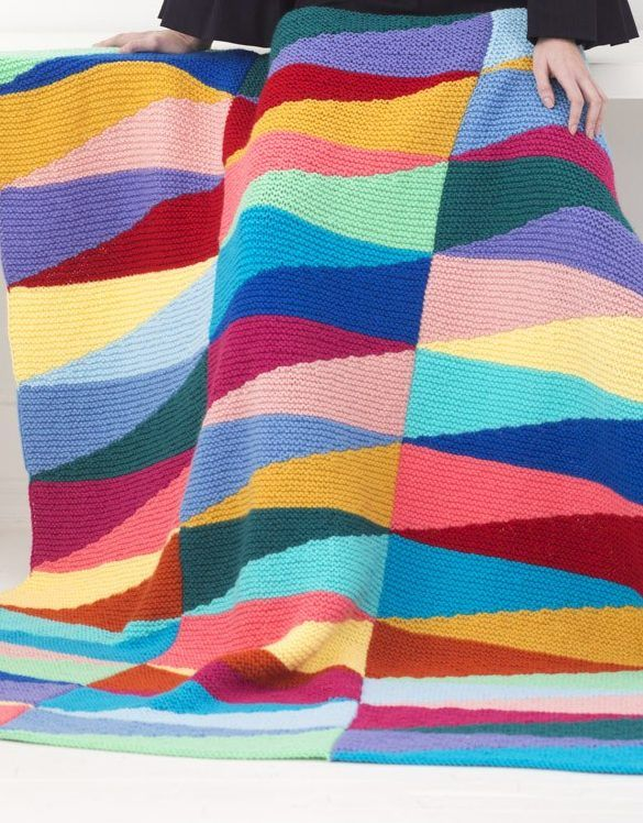 Free Knitting Pattern For Color Pennant Afghan Great Use For Stash