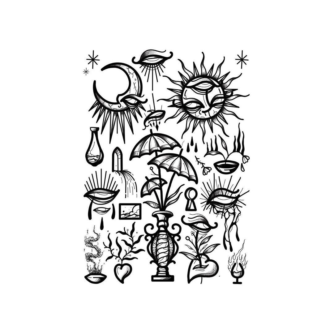 Flashs dispos 🌙 Bientôt de retour de vacances et il me reste encore quelques places en septembre et octobre hehe, hâte de pouvoir vous repiquez 🔥 ——————- Available at @lencrenoiretattoo . . . .  #ink#blackwork#flashworkers#tattoo#jeterlencretattoo#encrés#boldtattoos#fatline#boldlinetattoo#occultarcana#eyetattoo#moontattoo#suntattoo##frenchtattoo#frenchtattooflash#france#marseille#aixmaville#bruitssourds