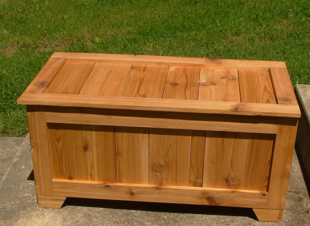 Rustic Reclaimed Cedar toy box blanket chest coffee by