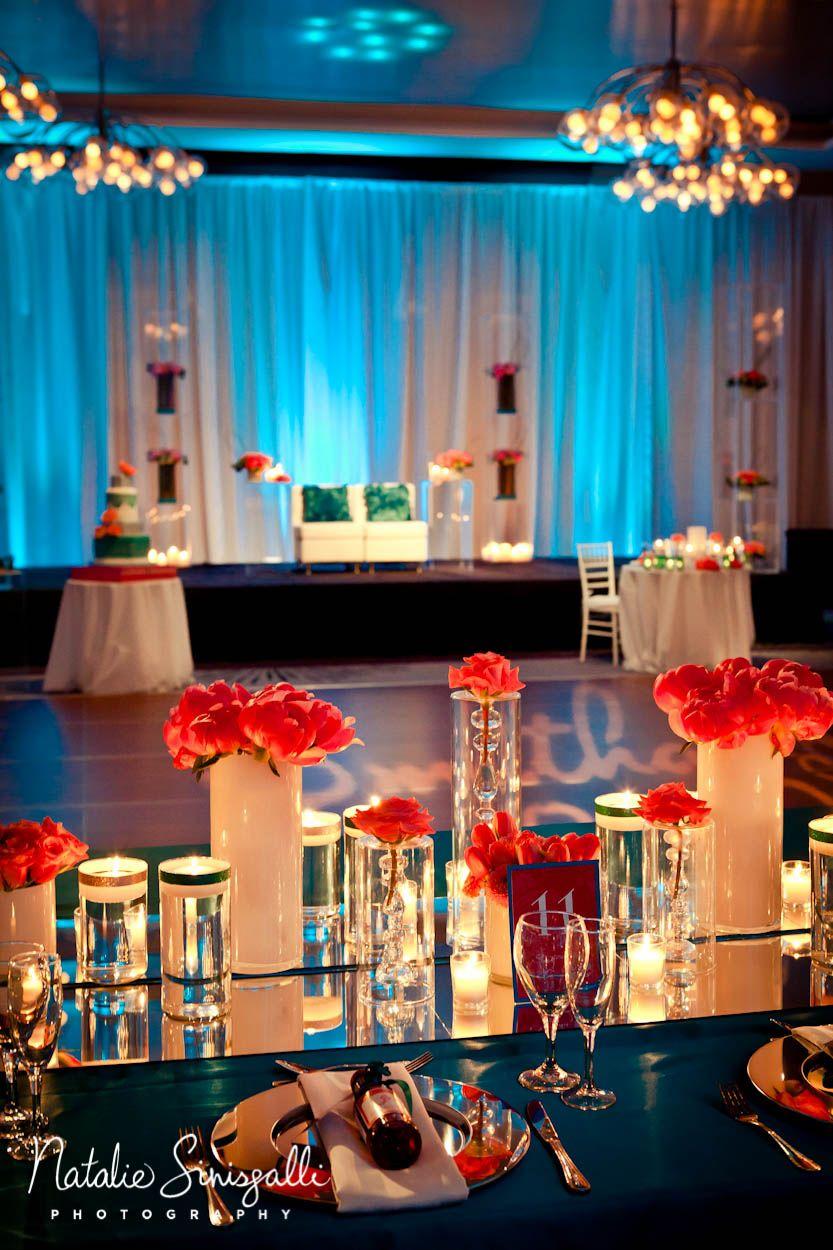 Coral Teal Wedding Uplighting Wedding Coral Teal Weddings