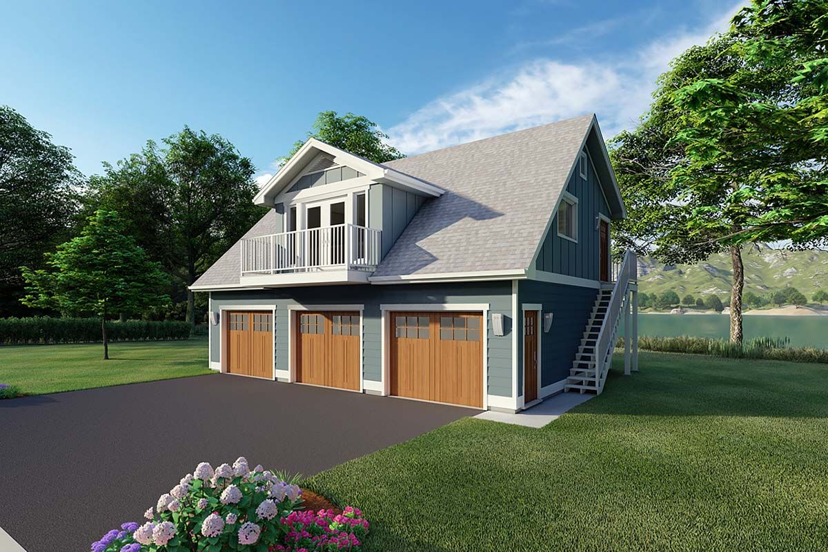 3 Car Garage Apartment Plan Number 90941 with 2 Bed, 1 ...