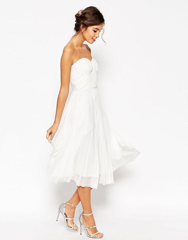 ASOS WEDDING Ruched Bodice Bandeau Midi Dress In White UK 12 EU 40 US