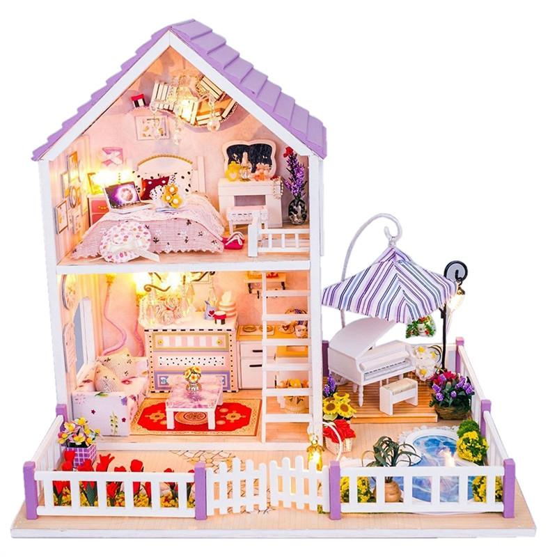 diy wooden dolls house miniature kit romantic purple home kids toy rh pinterest com