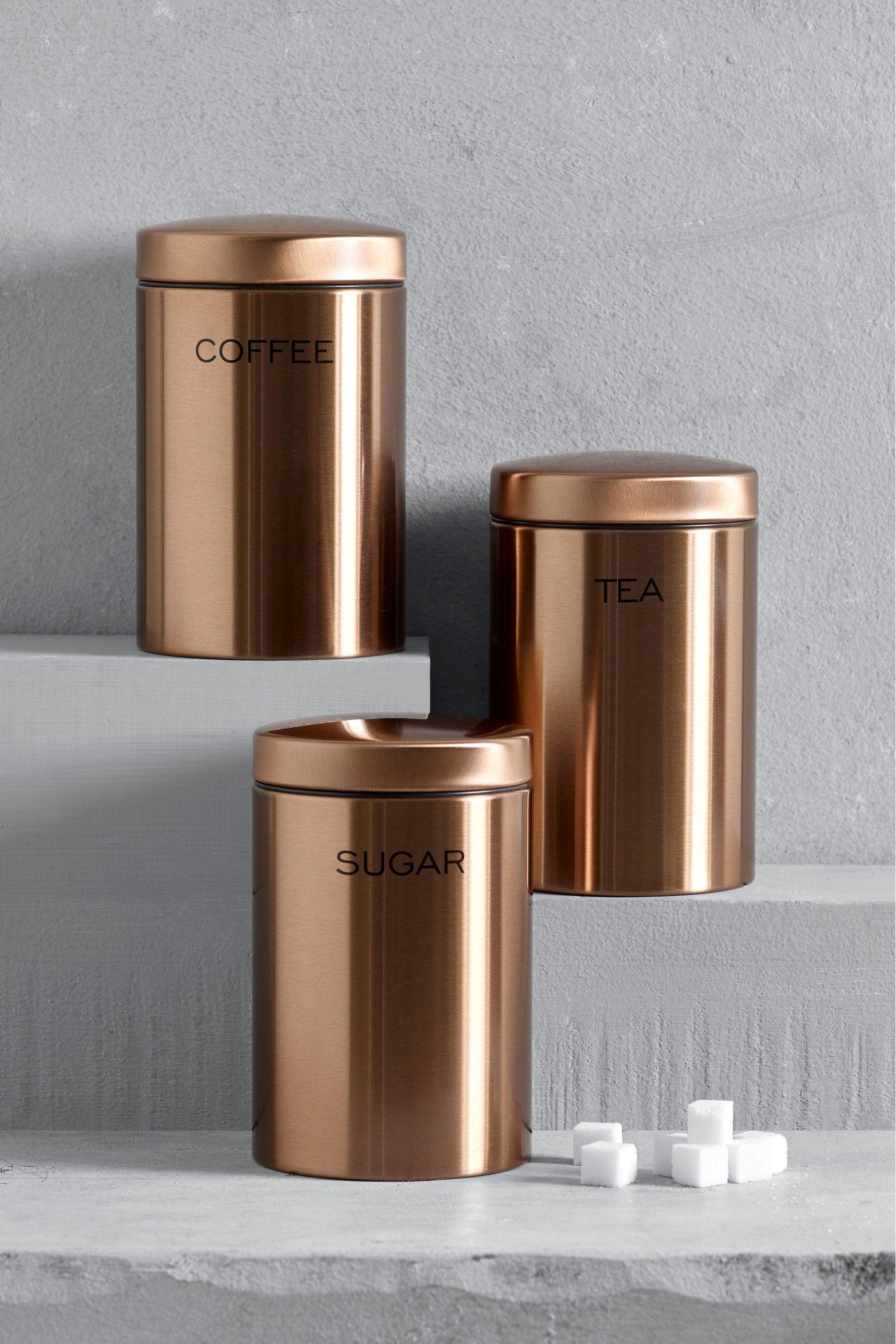 Next Set Of 3 Copper Effect Storage Tins Copper Kitchen