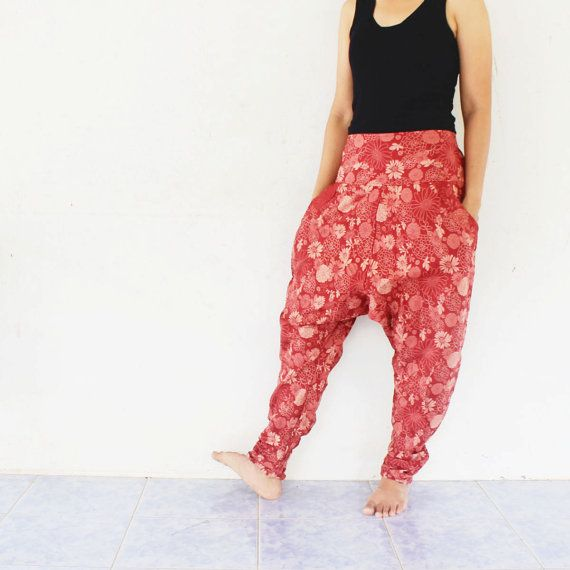 red  flowers harem pants hand weave by meatballtheory on Etsy