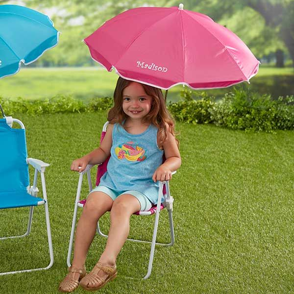 Swell Kids Pink Beach Chair Personalized Umbrella Set By Evergreenethics Interior Chair Design Evergreenethicsorg