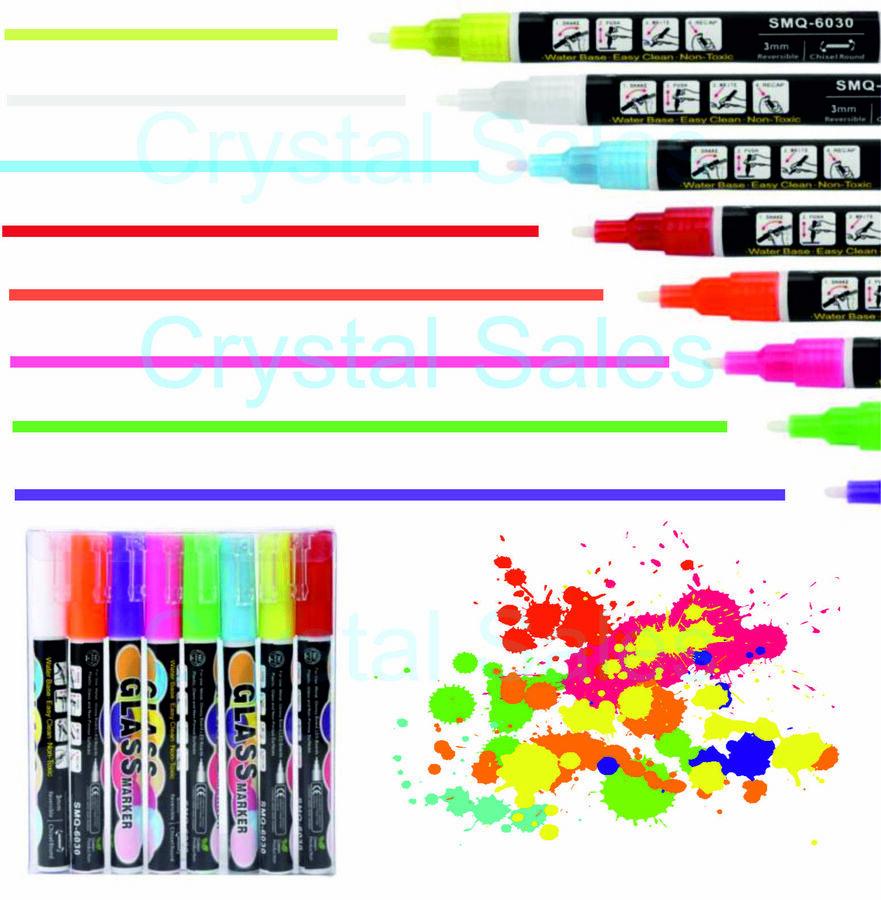 Details About 8 Liquid Chalk Pens Colours Neon Fluorescent Glass