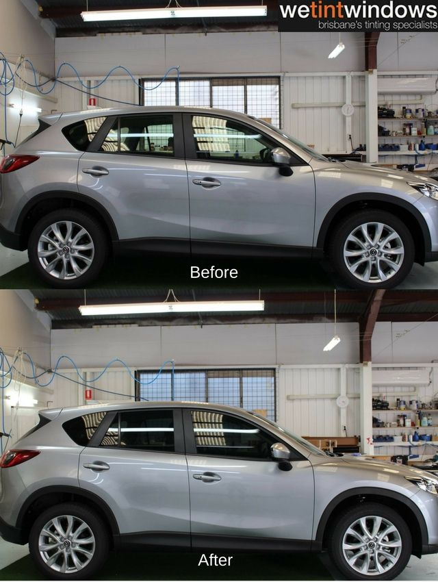 We Tint Windows Silver Mazda Suv Before And After Car Window