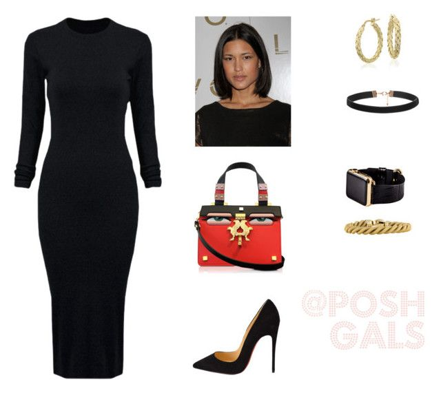 """""""Faces"""" by desireechristinaa on Polyvore featuring WithChic, Christian Louboutin, Giancarlo Petriglia, Blue Nile, Hadoro, women's clothing, women, female, woman and misses"""