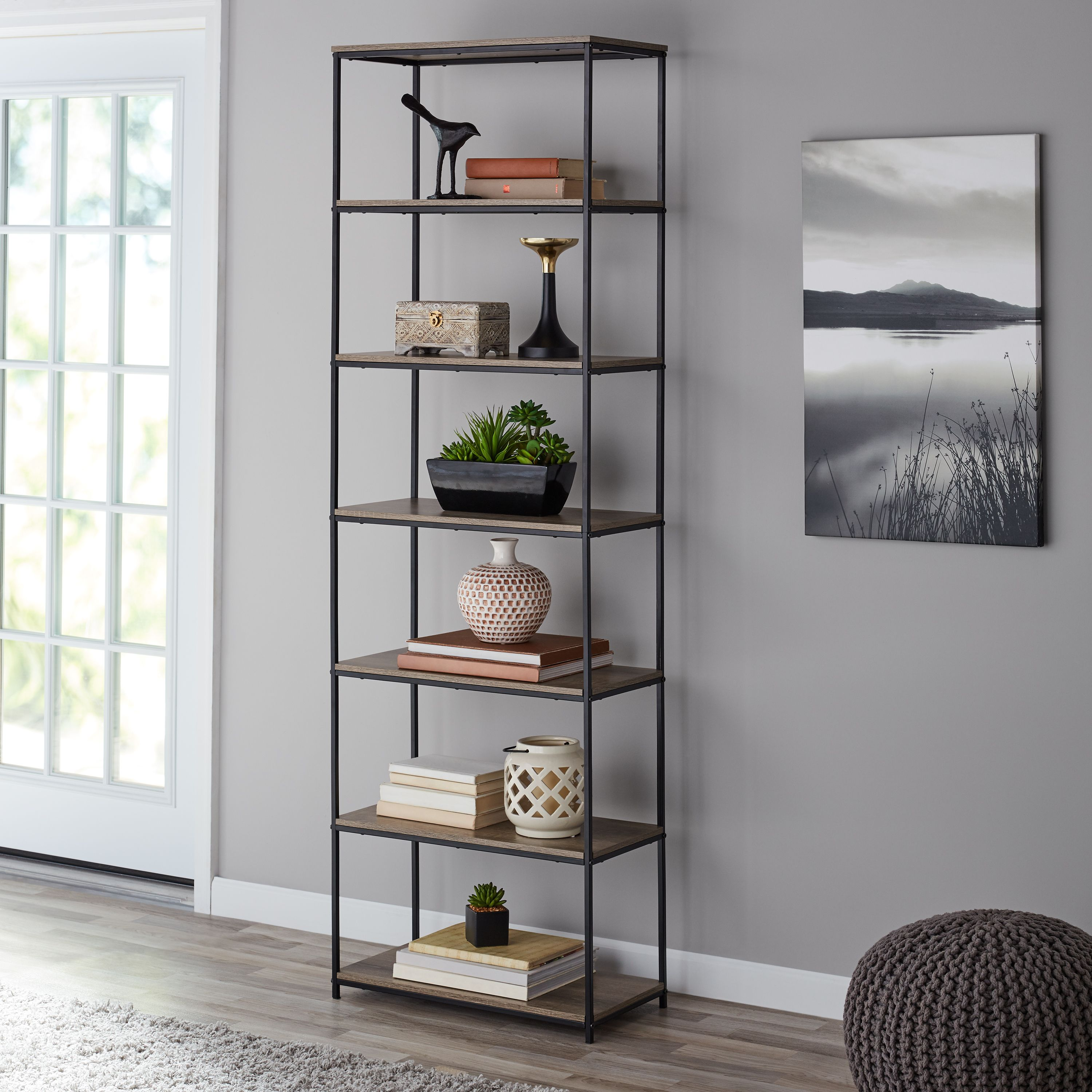 Home With Images Rustic Bookcase Brown Living Room Shelves