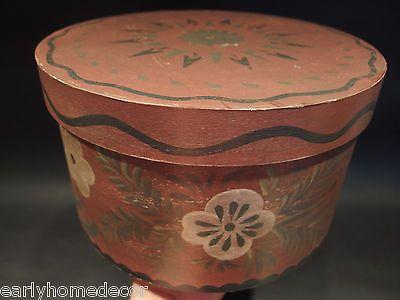 Primitive Antique Style Folk Art  Round Wood Pantry Box Red Paint