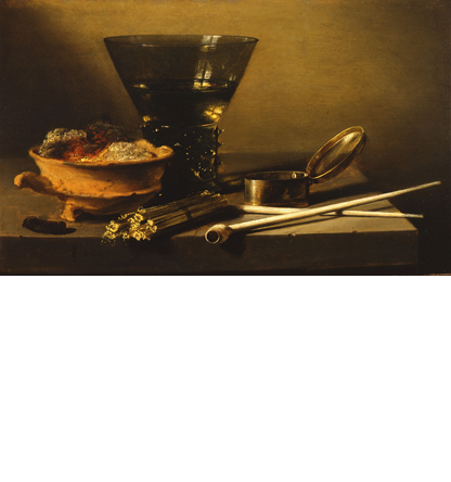 Haboldt & Co. (stand 343)       1 / 3    Pieter Claesz.  A Toebackje: a Still-life with a Berkemeier, Matches, clay Pipes, a Tobacco Box, and a Brazier  signed in monogram and dated lower left: PC 1638  oil on panel, 28,2 x 45,6 cm