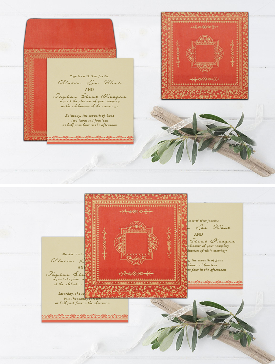 Orange wooly glitter wedding invitations : cd-8205m | Glitter ...