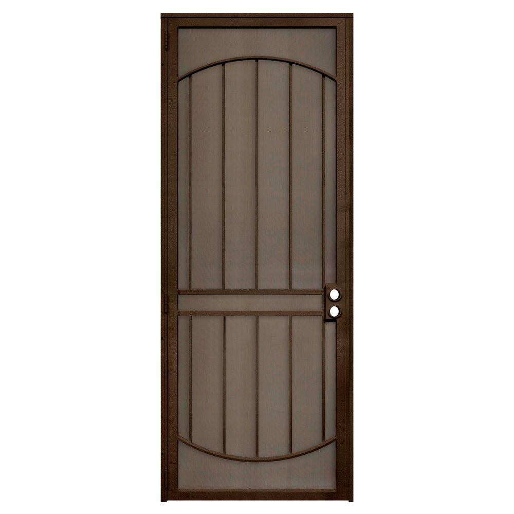 Unique Home Designs 36 In X 96 In Arcada Copper Surface Mount Left Hand Steel Security Door With Expanded Metal Screen Idr064096r2079 Unique House Design Steel Security Doors Metal Screen Doors