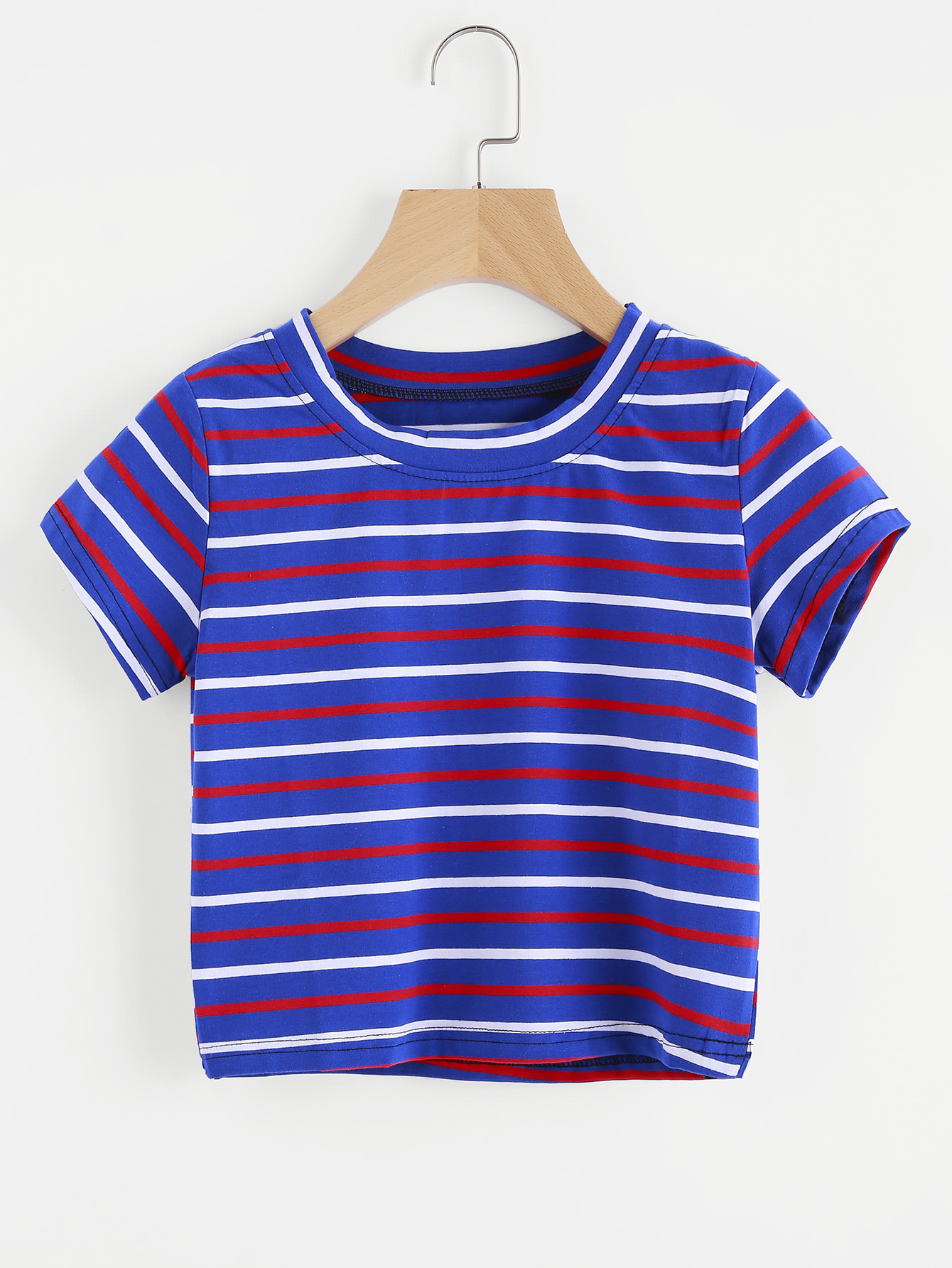 66c78ab667 Shop Contrast Striped Tee online. SheIn offers Contrast Striped Tee & more  to fit your fashionable needs.