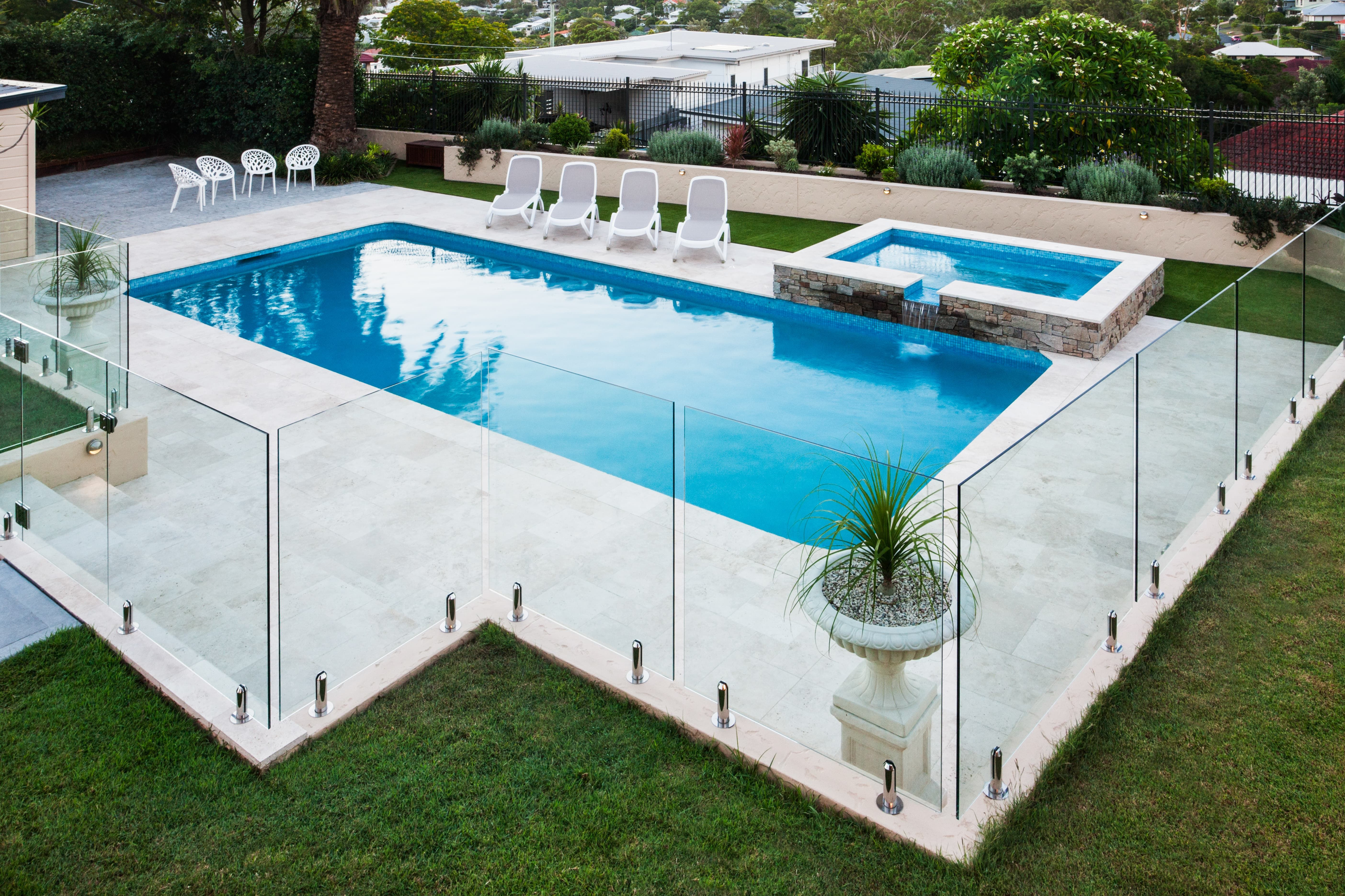 16 Pool Fence Ideas That Will Upgrade Your Yard Glass Pool Fencing Pool Patio Designs Glass Pool
