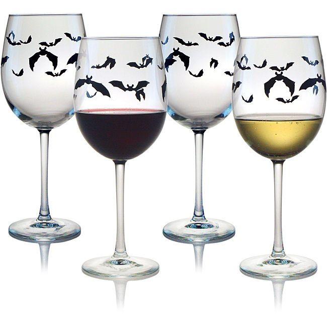 Halloween Wine Glasses Bats Stemware Drinking Mugs Beer Cups Decorations Decor…