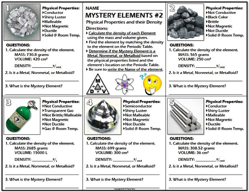 Worksheet Mystery Elements And Their Density Version 2 Physical