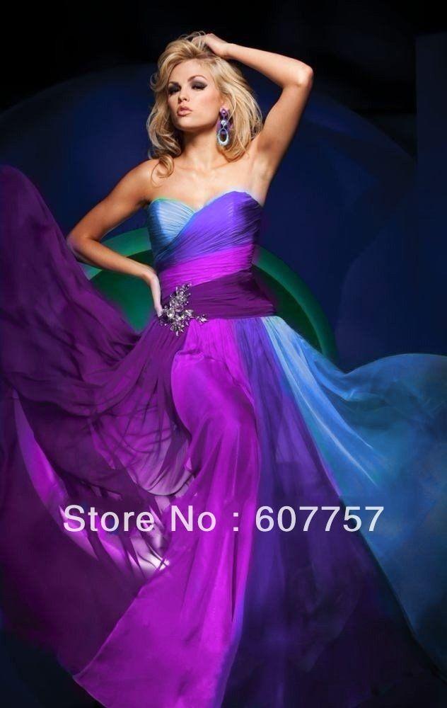 Custom Made 2013 Hot Sale Strapless Purple Blue Multi 4 Colors Chiffon Party Dress Evening