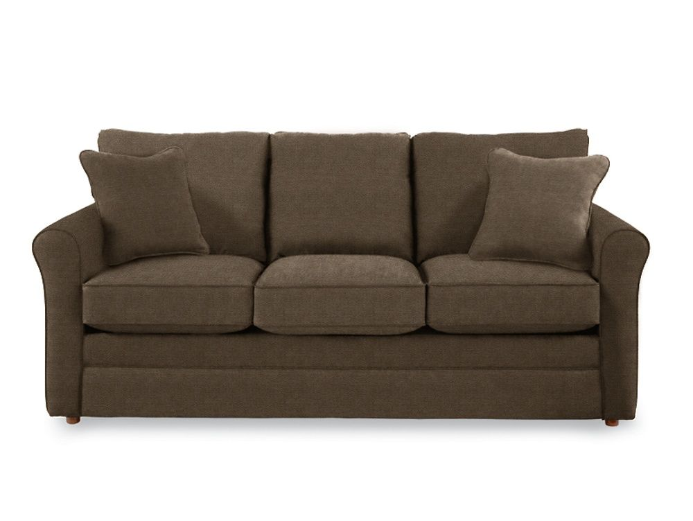 A petite style that's big on comfort, the Leah queen sleep sofa lets you live large in small spaces. A sleek profile designed for welcoming comfort with gently curved roll arms, box seats, pillow backs and two matching accent pillows. With a queen size Supreme Comfort™ innerspring coil mattress to pamper overnight guests.