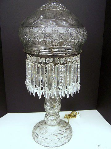 Large Antique Crystal Lamp With 38 Hanging Prism In 2019
