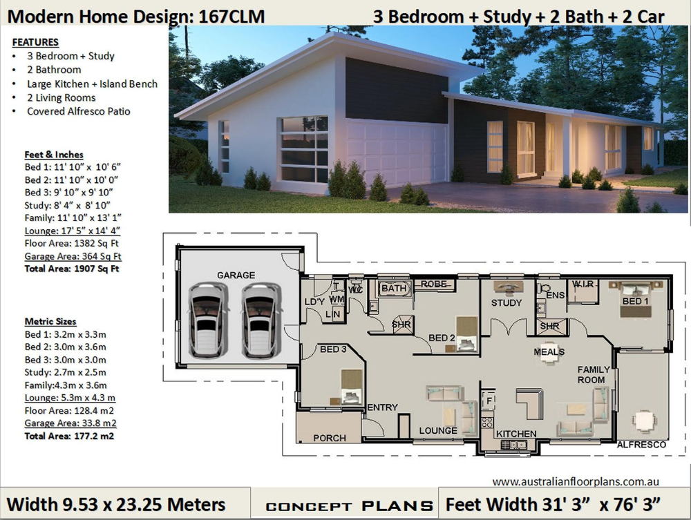 Narrow Land House Plans 3 Bedroom Study House Plans Etsy In 2021 House Plans 3 Bedroom House Plans Floor Plans