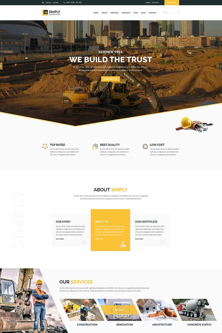 Simply Construction Website Template 65882 is part of Construction website templates, Construction website, Web layout design, Corporate website design, Web design tips, Website design layout - Simply is a construction HTML template for constriction related business (such as Architecture, Engineering etc ) website  For a local company or internal