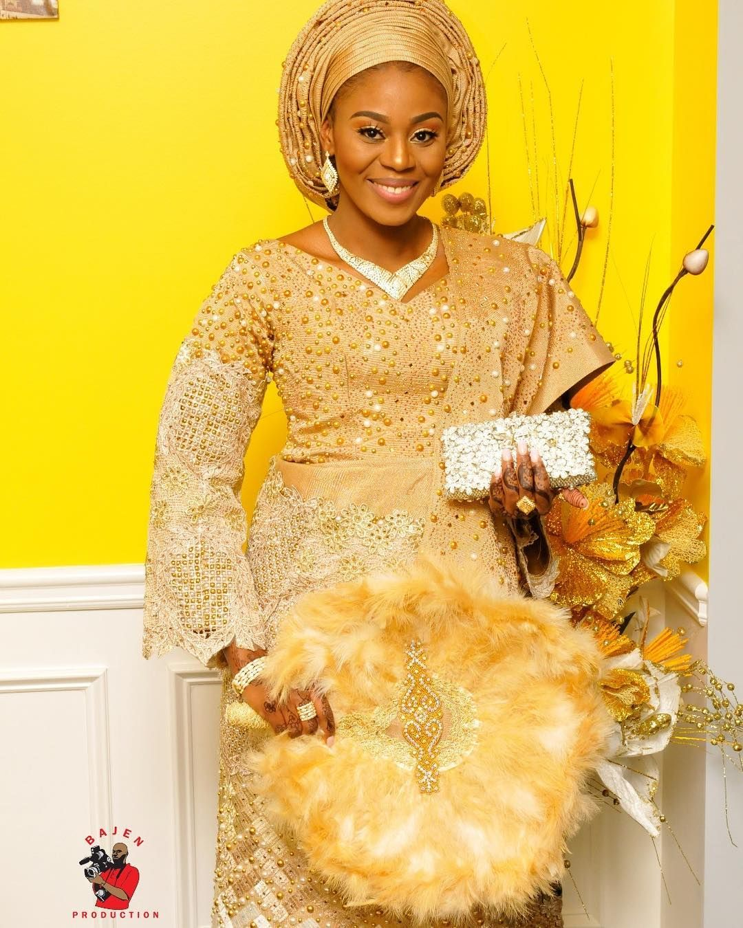 Beautiful Mother Of Two Slayed In Our Aso Oke For Her Baby S Naming Ceremony African Prom Dresses African Wedding Attire Ceremony Dresses