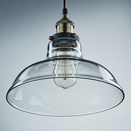 Kitchen Pendant Light Fixtures Amazon Com: LES® YOBO Lighting Industrial Edison 1 Light Glass Shade
