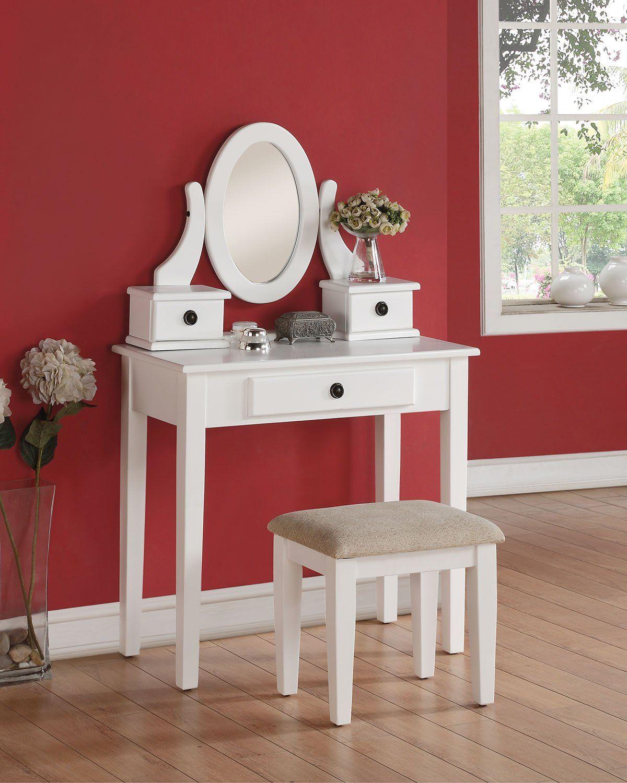 acme jayle white wood vanity set with jewelry mirror stool