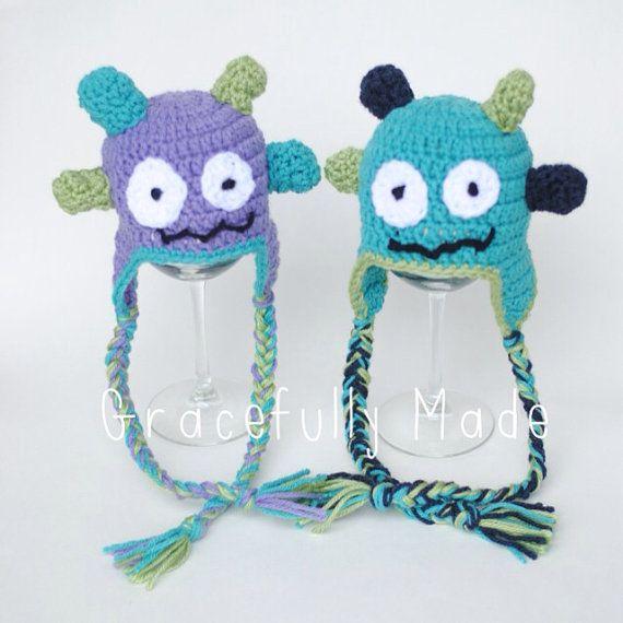 Monster Crochet Hat   Crochet   Pinterest   Gorro tejido, Gorros y ...