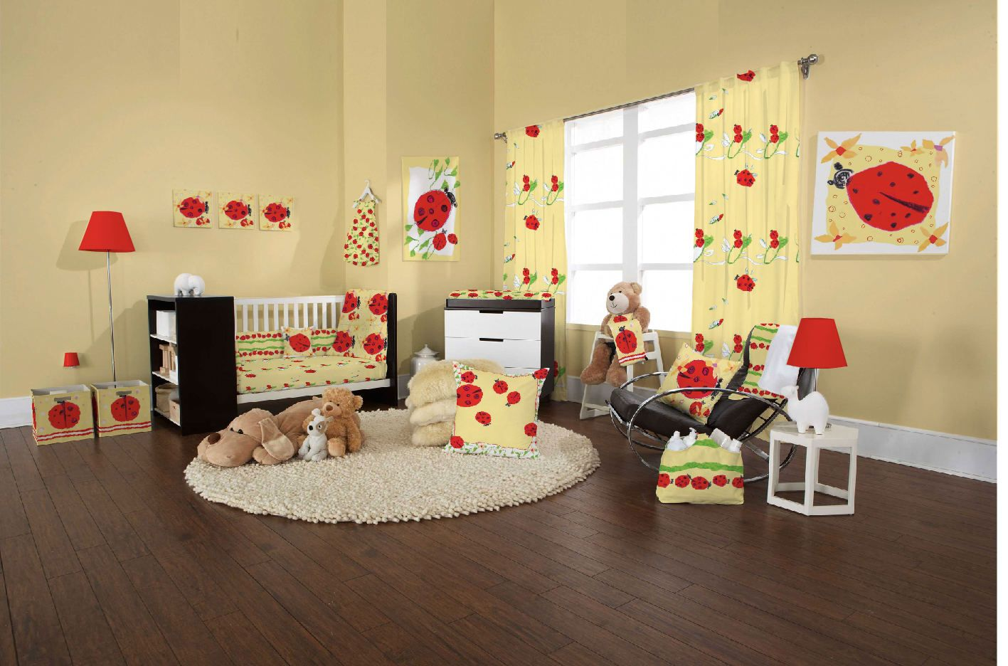 yellow ladybug nursery-room-decorations-unique-nursery-ideas-wall ...