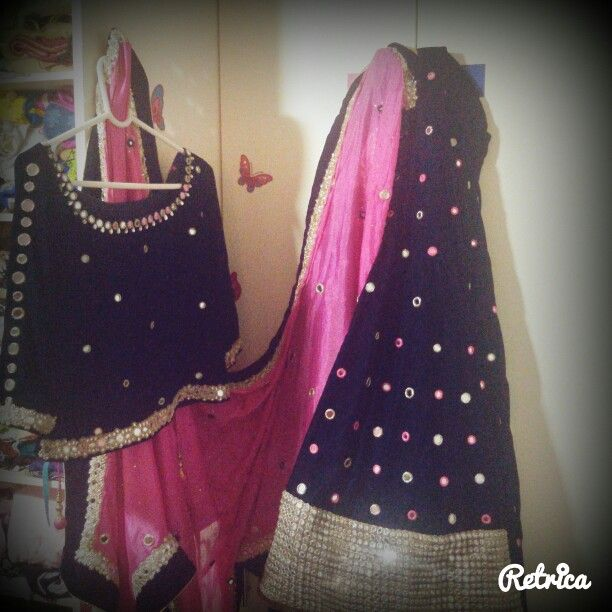My Nikah Dress Royal Blue And Pink Color Combination Lehenga With Mirror Work