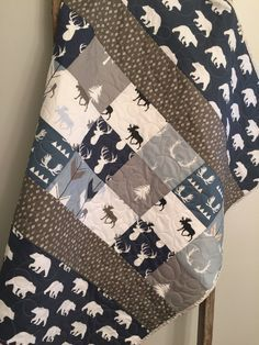 Arrows Modern Crib Bedding Pink and Blue Nursery Woodland Baby Girl Quilt Antlers Feathers Homemade Quilted Baby Blanket Buck