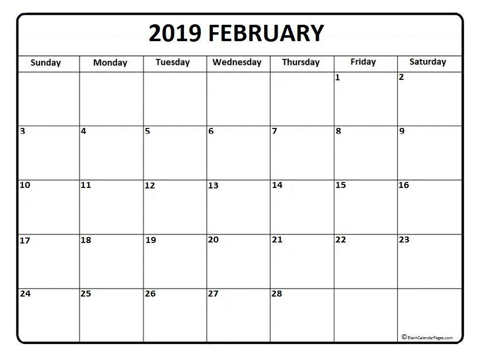 Blank Calendar Feb 2019 February 2019 Calendar Blank #february #february2019