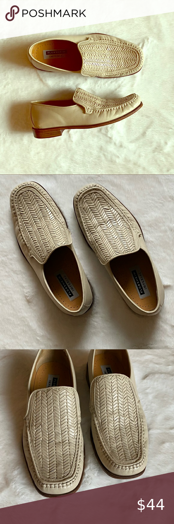Florsheim Ivory Woven Leather Loafters In 2020 Florsheim Florsheim Shoes Nice Shoes