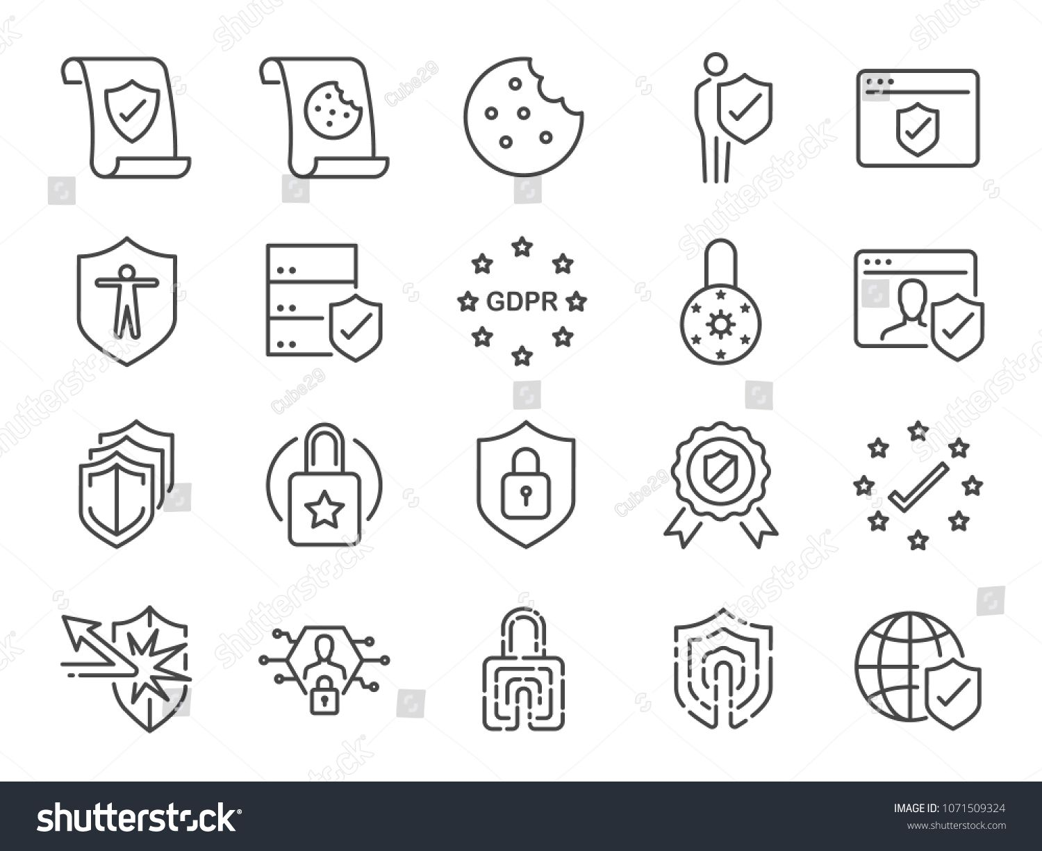 Gdpr Privacy Policy Icon Set Included The Icons As Security Information Gdpr Data Protection Shield Cookies Policy Compliant Pers In 2020 Icon Set Line Icon Icon