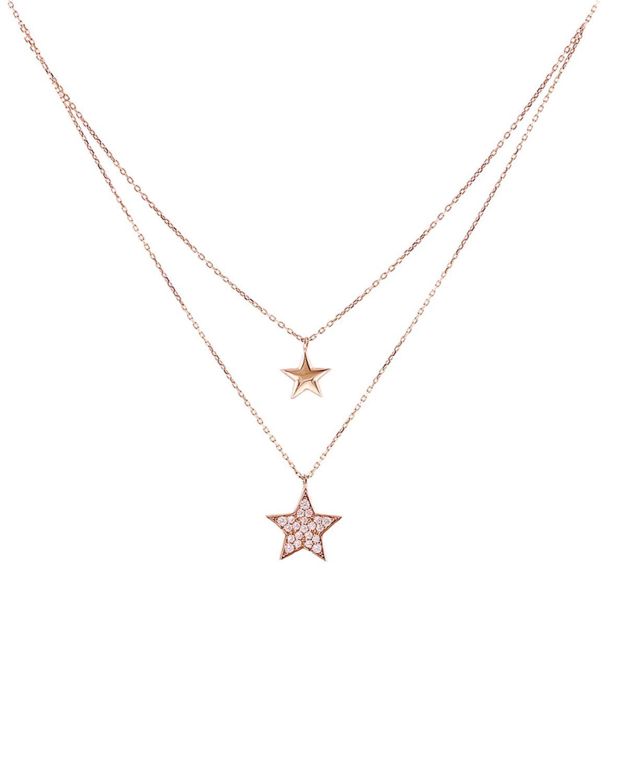 24b2392838 Διπλο Κολιέ 14Κ Ροζ Χρυσό με Ζιρκόν SAVVIDIS - kosmima.gr