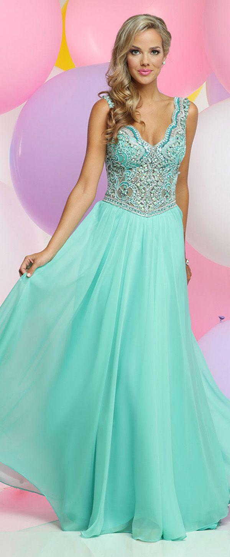 Lightsome Silk Like Chiffon V-neck Neckline A-line Prom Dresses With ...