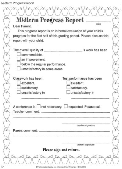 Midterm Progress Report Free Printable Worksheets Printables Template Card