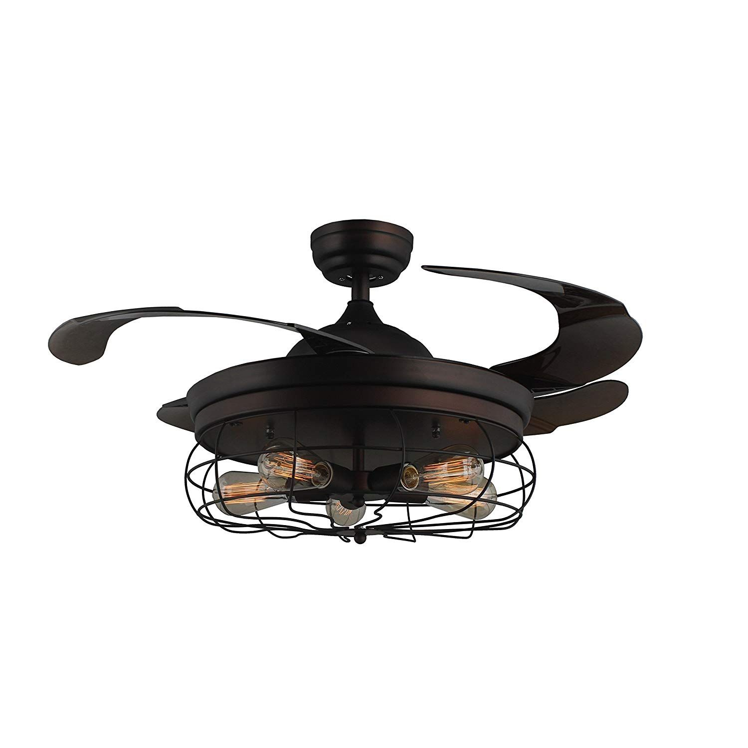 45 Industrial Edison Bulbs Ceiling Fans Wire Caged Acrylic Wiring A Fan Remote Control Retractable Blades Matte Black Finish Nestfriend