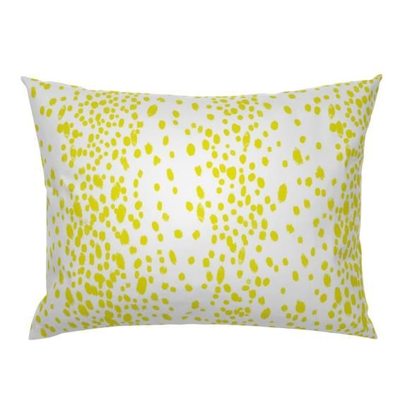 Chartreuse Dots Pillow Sham - Dots In Citron by domesticate - Yellow Spots  Animal Print Cotton Sate