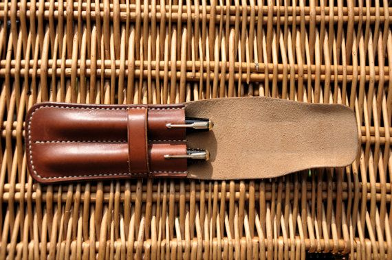 Beautiful handmade leather two pen case by MorganEsq on Etsy
