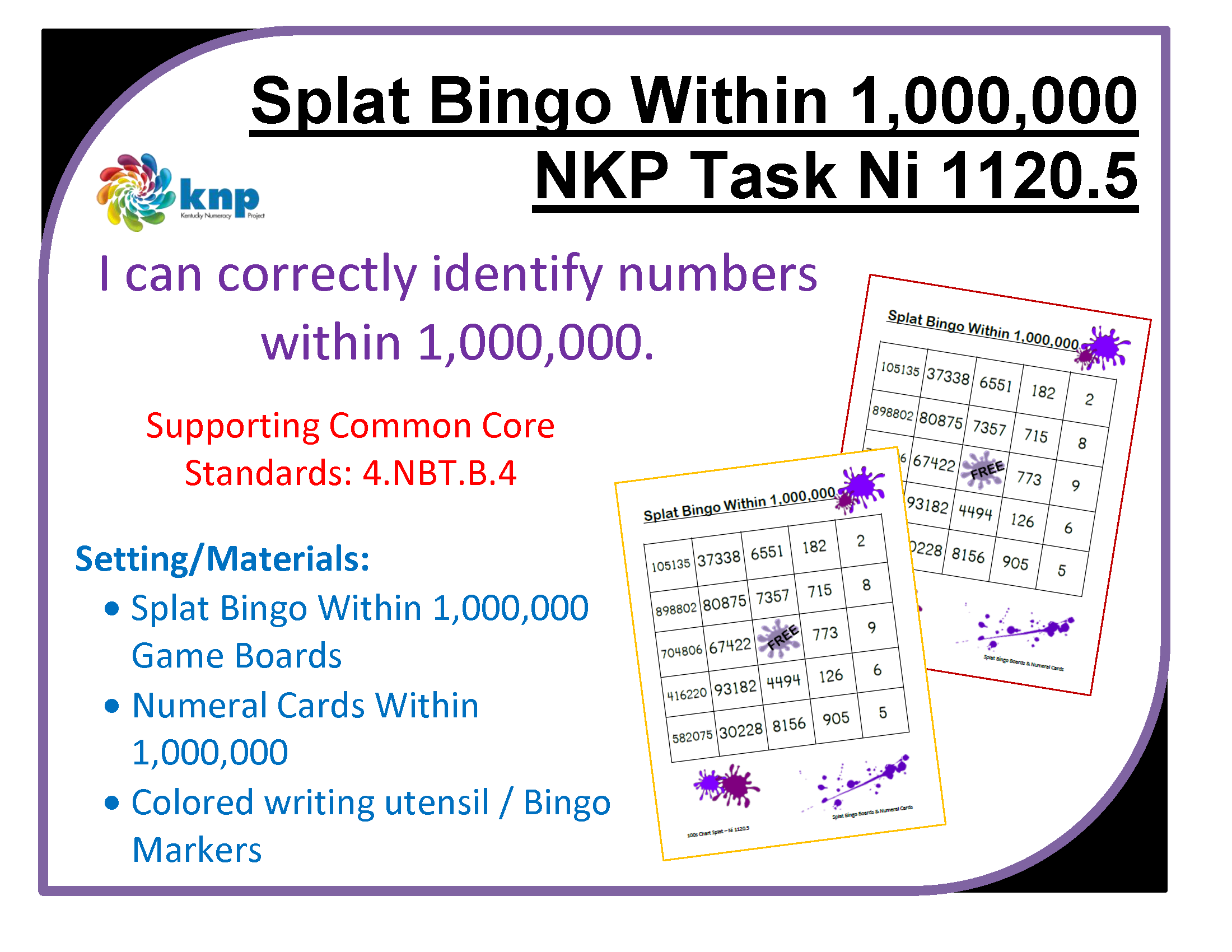 Splat Bingo Within 1 000 000