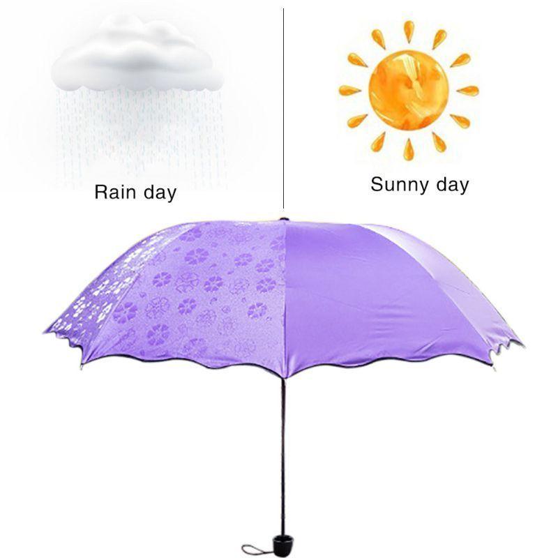 5861095dea US Windproof Anti-UV Sun Rain Umbrella Magic Invisible Flowers ...