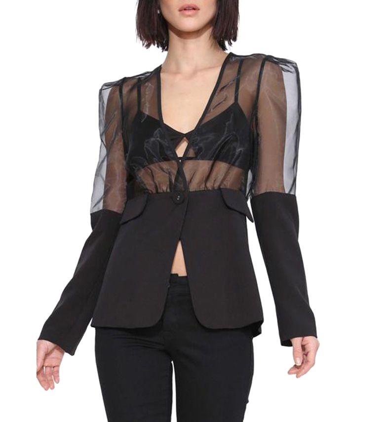 Strong Shoulder Organza Panel Suit Jacket