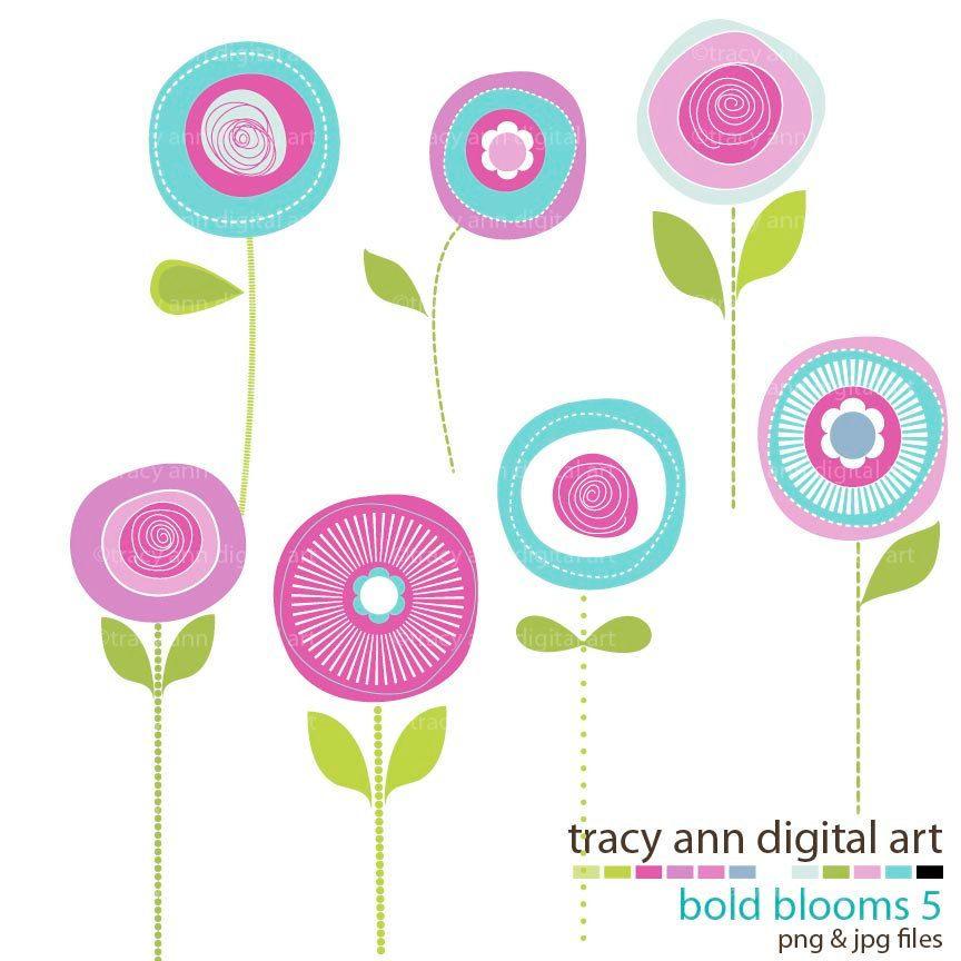 Flower Clip Art Summer Blooms, @Alisa Simonson