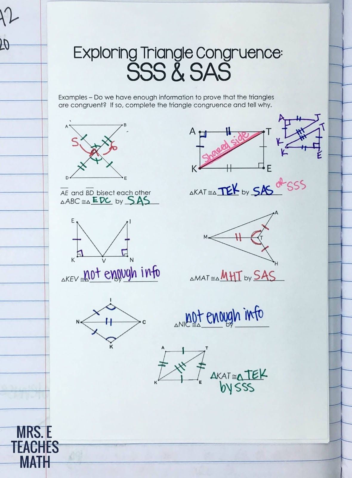 Congruent Triangles Inb Pages Geometry High School Teaching Geometry Interactive Notebooks